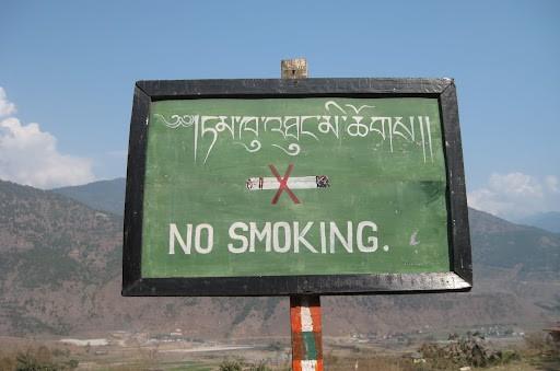 Không hút thuốc khi đi du lịch nước ngoài ở Bhutan
