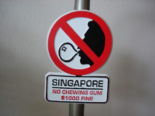 Điều cấm khi đi du lịch ngước ngoài Singapore
