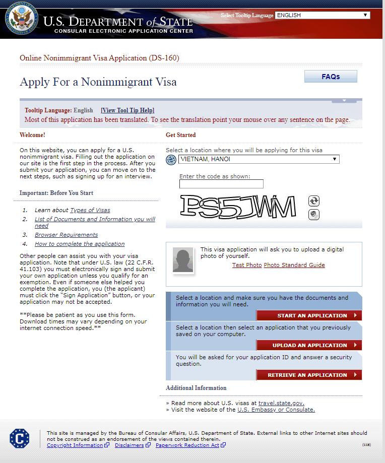 Hướng dẫn điền tờ đơn xin visa Mỹ DS 160 bước 1