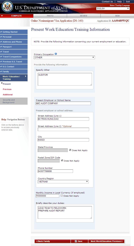 Hướng dẫn điền tờ khai xin visa Mỹ DS 160 bước 11