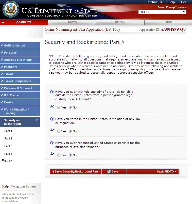 Hướng dẫn điền tờ khai xin visa Mỹ DS 160 bước 12 visana