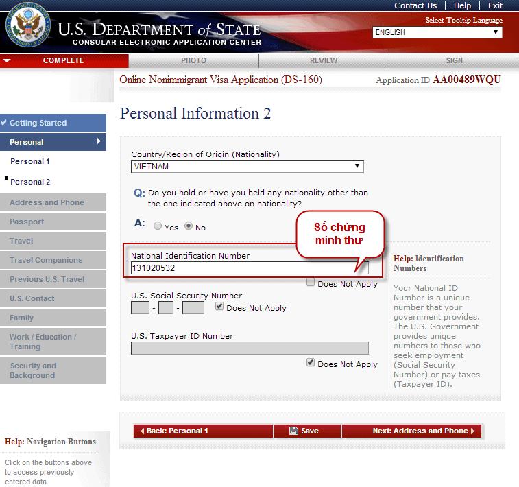 Hướng dẫn điền tờ khai xin visa Mỹ DS 160 bước 3