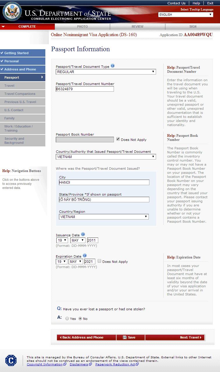 Hướng dẫn điền tờ khai xin visa Mỹ DS 160 bước 5