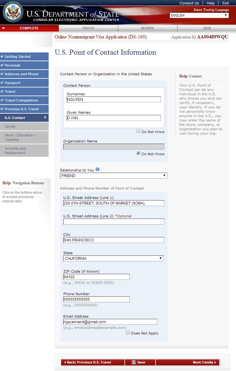 Hướng dẫn điền tờ đơn xin visa Mỹ DS 160 Bước 9