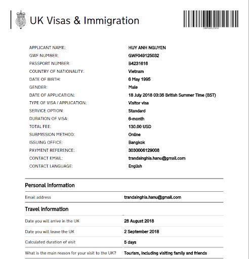 điền tờ khai xin visa Anh