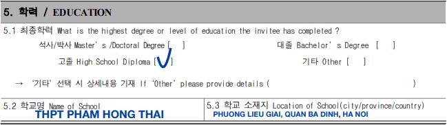 Hướng dẫn điền đơn xin visa Hàn Quốc bước 5
