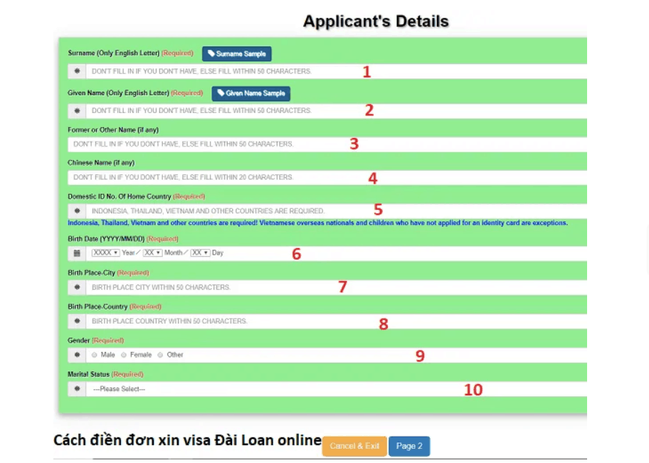 form visa đài loan