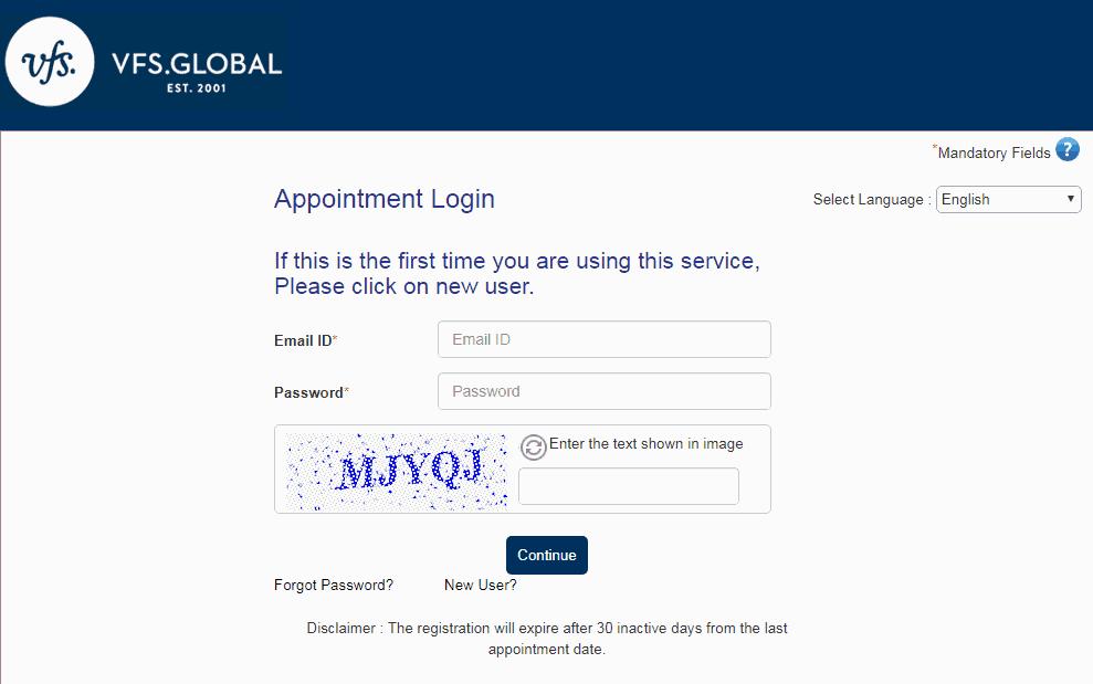 Đăng nhập đặt lịch hẹn online xin visa Úc - Visana