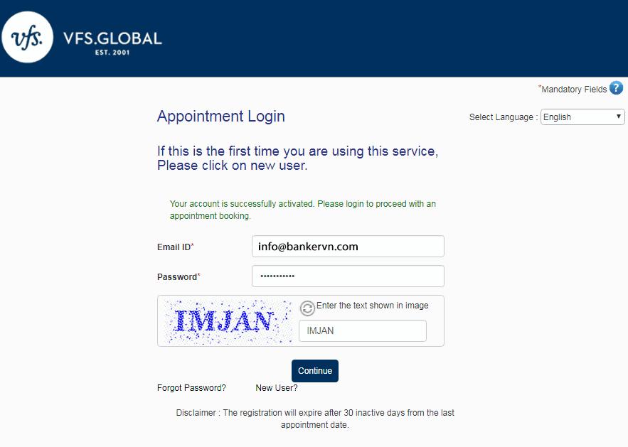Đặt lịch hẹn online visa Úc bước 5 Visana