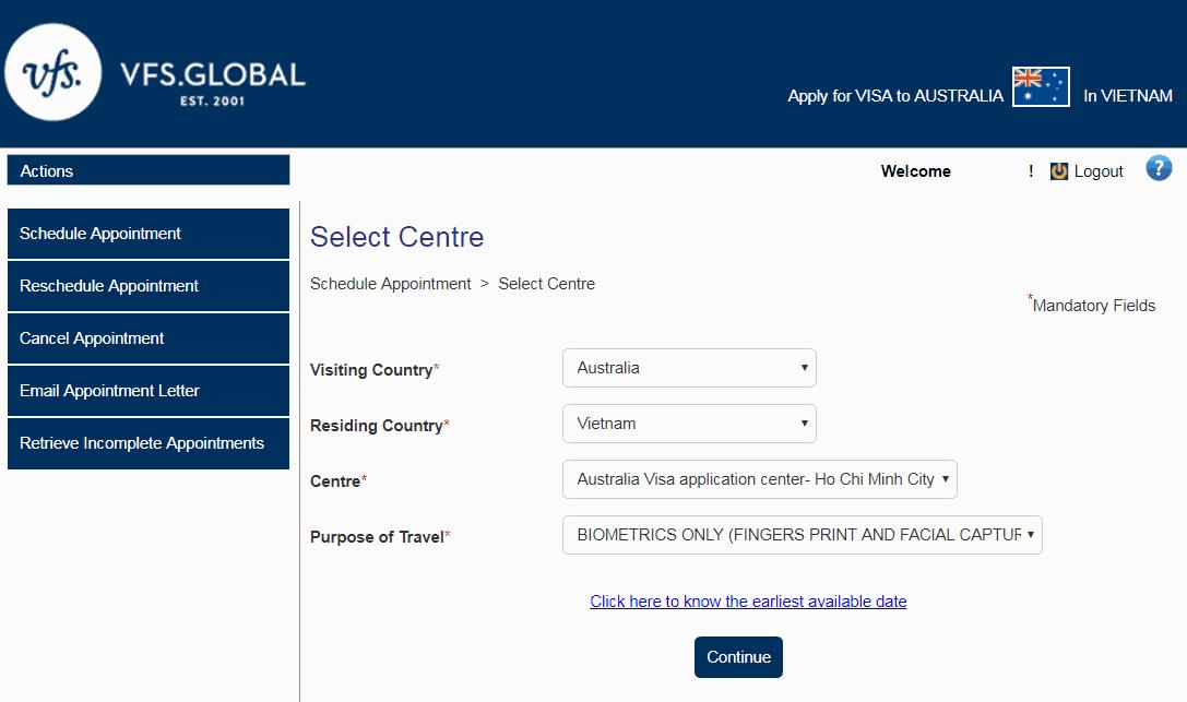 Đặt lịch hẹn online xin visa Úc - bước 6 - Visana