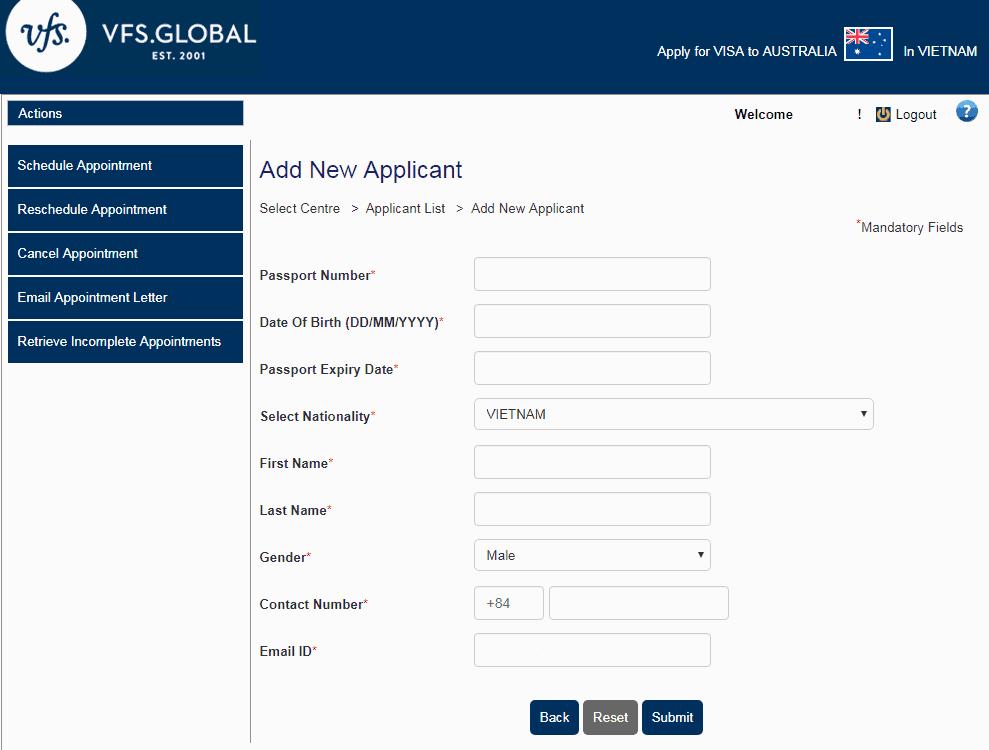 Đặt lịch hẹn online xin visa Úc bước 7 - Visana