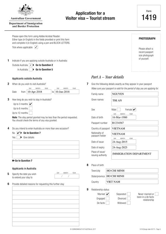 Tờ khai xin visa Úc (Mẫu 1419) - VISANA
