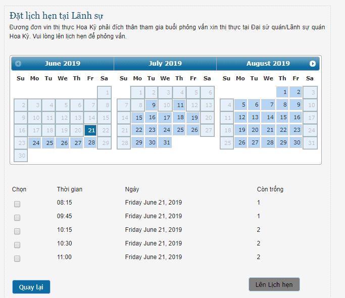 Chọn thời gian đặt lịch hẹn xin visa Mỹ online