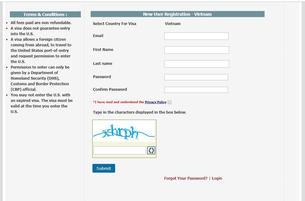 Điền thông tin tạo tài khoản đặt lịch hẹn phỏng vấn visa Mỹ