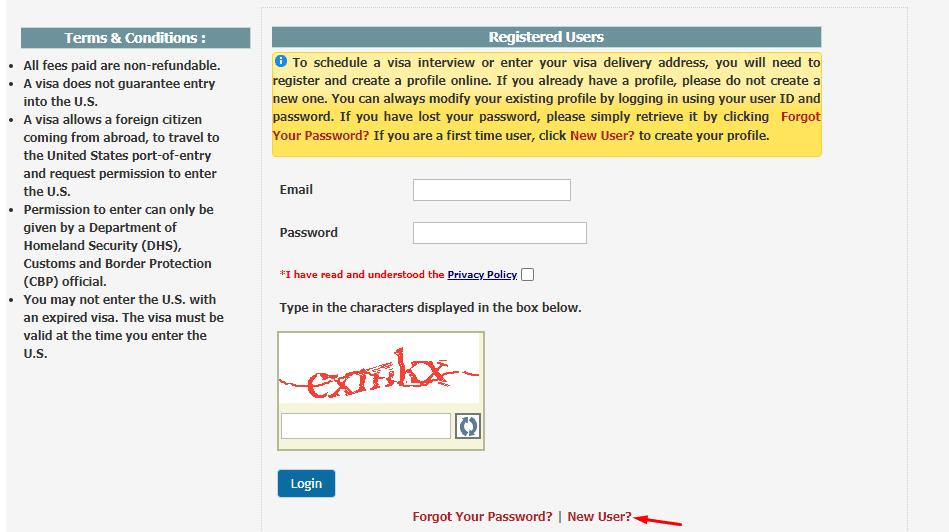 Giao diện đặt lịch hẹn xin visa Mỹ