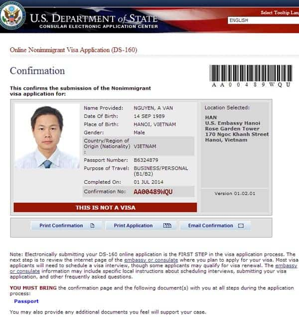 Mẫu tờ khai DS 160 xin  visa công tác Mỹ