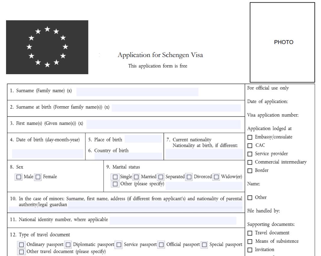 mẫu đơn xin thị thực Pháp