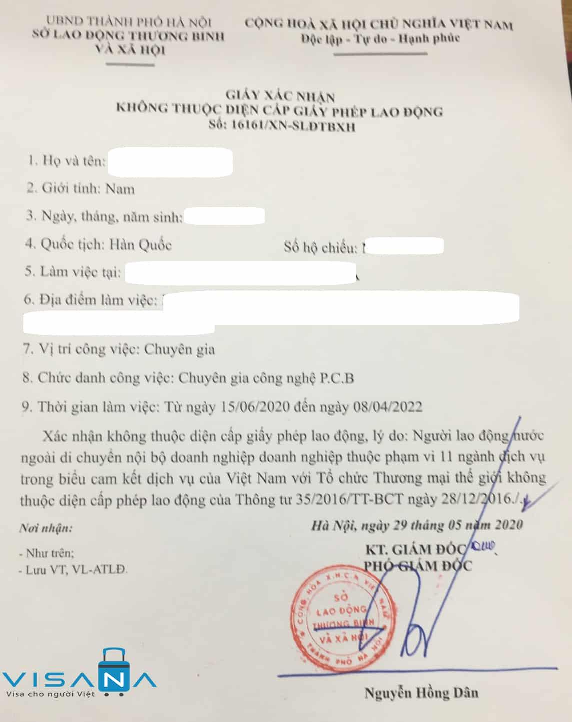 Mẫu giấy miễn giấy phép lao động Việt Nam - VISANA