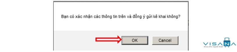 Hộp thoại xác nhận thông tin Đăng ký lý lịch tư pháp trực tuyến - VISANA