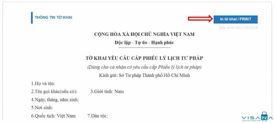 In tờ khai yêu cầu cấp phiếu lý lịch tư pháp - VISANA
