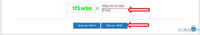 Nhập mã xác thực đăng ký lý lịch tư pháp online - VISANA