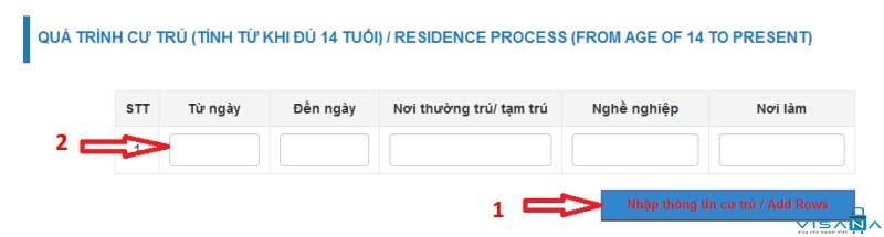 Nhập thông tin quá trình cư trú khi đăng ký lý lịch tư pháp trực tuyến - VISANA