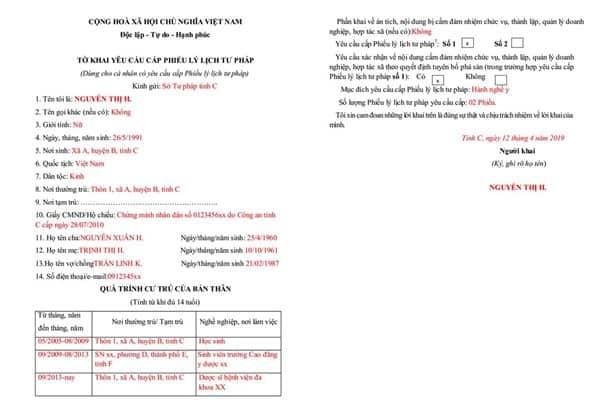Cách ghi tờ khai mẫu xin cấp phiếu lý lịch tư pháp - số 03