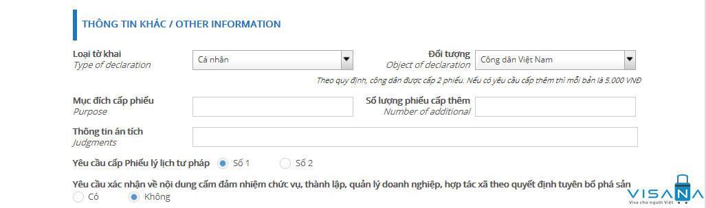 Phần yêu cầu cấp lý lịch tư pháp online - VISANA