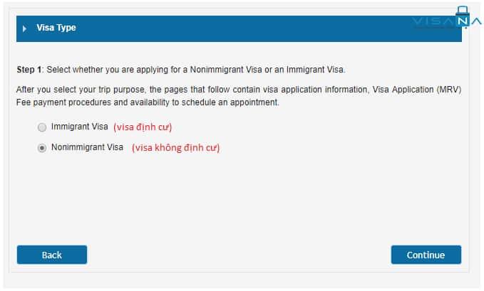 Chọn loại visa định cư/ không định cư để đặt lịch hẹn visa Mỹ