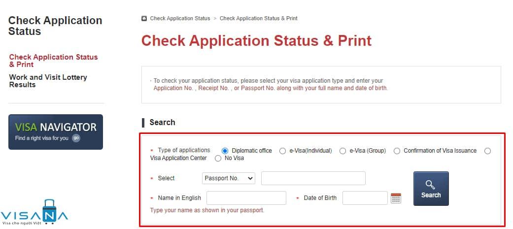 Điền thông tin để kiểm tra kết quả visa Hàn Quốc - VISANA