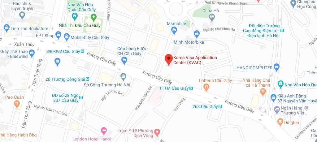 Địa chỉ nộp hồ sơ xin visa Hàn Quốc tại Hà Nội - KVAC Hà Nội