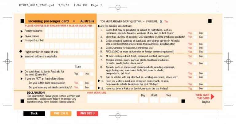 Tờ khai nhập cảnh Úc
