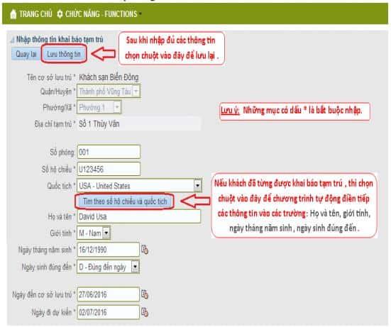 Điền thông tin trong form khai báo tạm trú online cho người nước ngoài