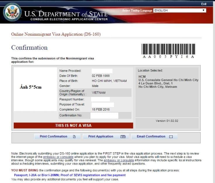Mẫu đơn xin visa đi Mỹ DS-160 - Visana