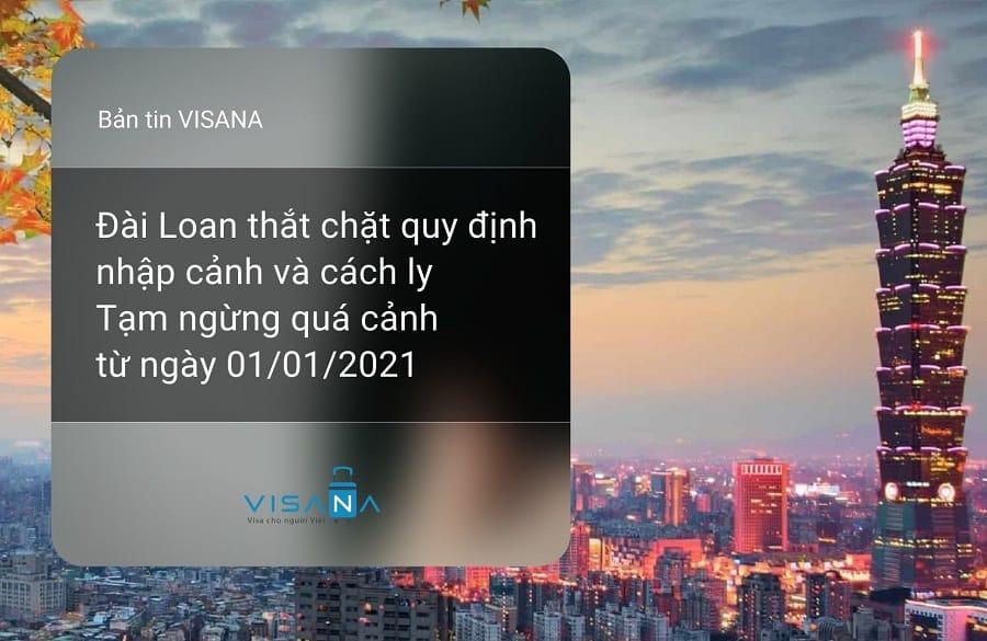 Quy định nhập cảnh Đài Loan - Quá cảnh Đài Loan từ ngày 01/01/2021
