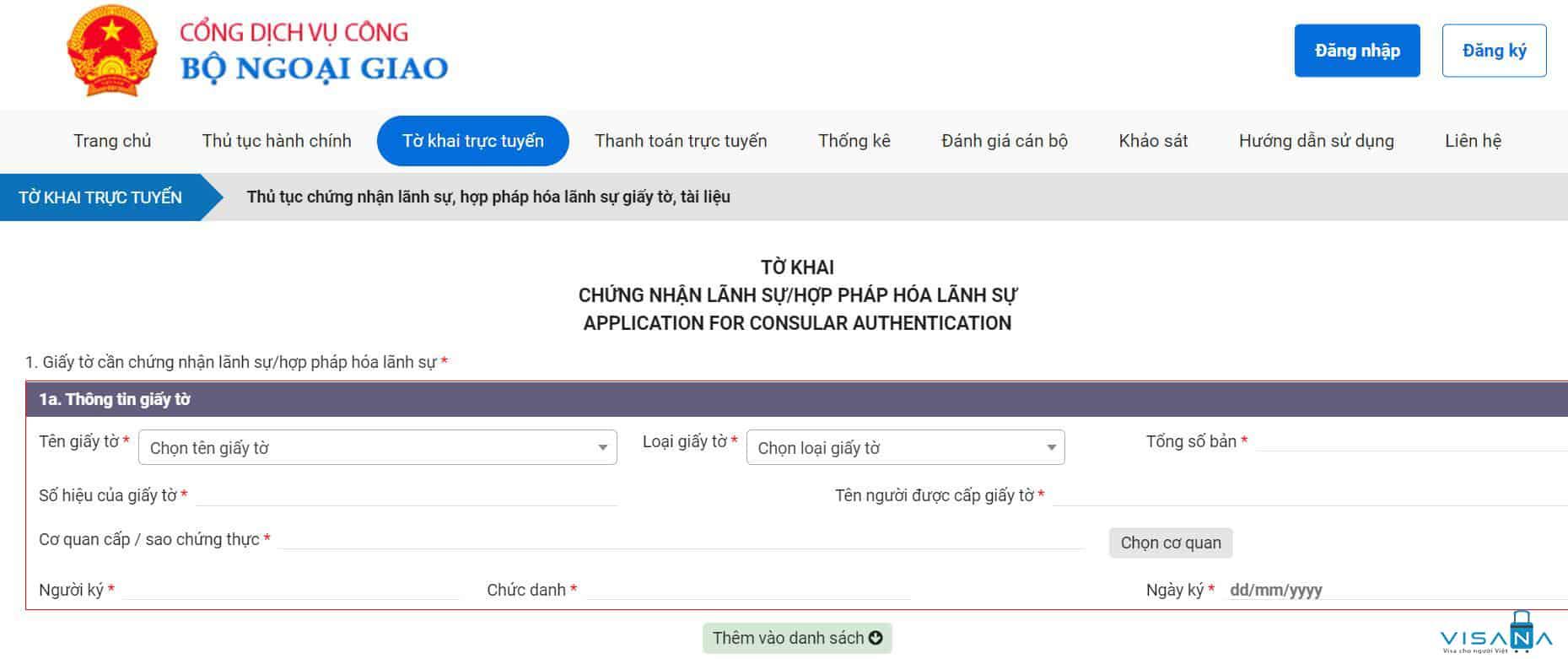 Mẫu tờ khai hợp pháp hóa lãnh sự tại Cục lãnh sự Hà Nội