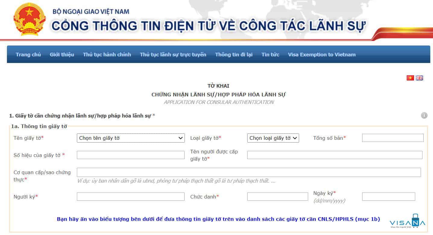 Mẫu tờ khai hợp pháp hóa lãnh sự tại Sở Ngoại vụ Thành phố Hồ Chí Minh