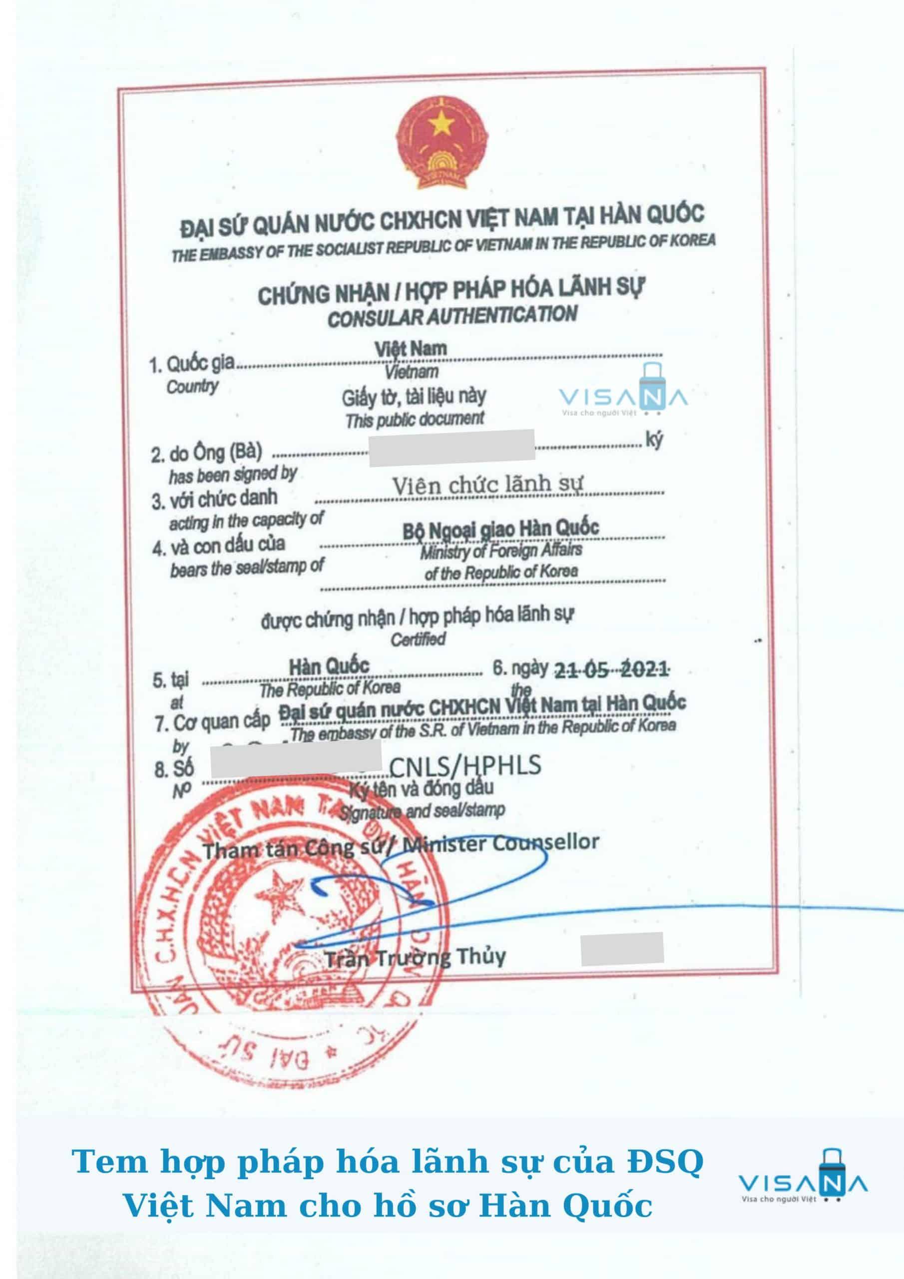 Tem hợp pháp hóa lãnh sự giấy tờ Hàn Quốc của Đại sứ quán Việt Nam