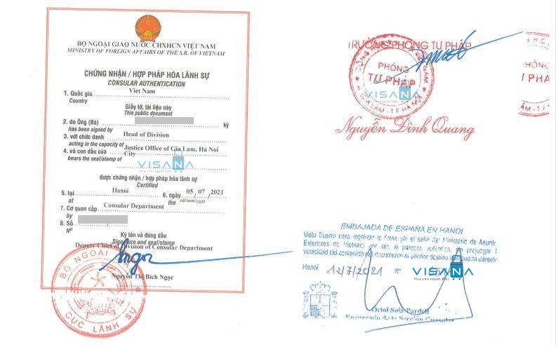 Tem hợp pháp hoá lãnh sự Tây Ban Nha của Bộ Ngoại giao Việt Nam
