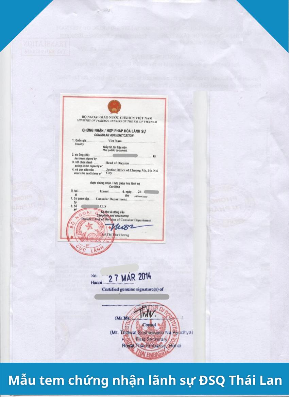 Mẫu tem chứng nhận lãnh sự Đại sứ quán Thái Lan